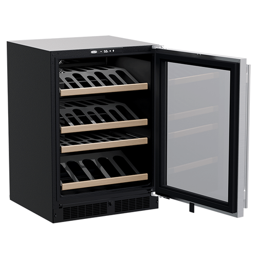 24-In Built-In High-Efficiency Single Zone Gallery Display Wine Refrigerator with Door Style - Stainless Steel Frame Glass