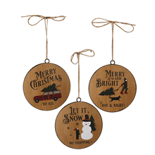 Faux Wood Disc Holiday Text Ornament (6 pc. ppk.)