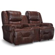 GENET LEATHER Power Rocking Console Reclining Loveseat in Chocolate      (L960CY7-54596L,44975)