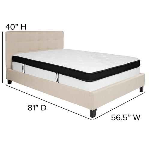 Chelsea Full Size Upholstered Platform Bed in Beige Fabric with Memory Foam Mattress
