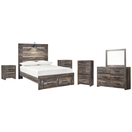 Ashley - Full Panel Bed With 2 Storage Drawers With Mirrored Dresser, Chest and 2 Nightstands
