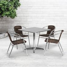 See Details - 31.5'' Square Aluminum Indoor-Outdoor Table Set with 4 Dark Brown Rattan Chairs