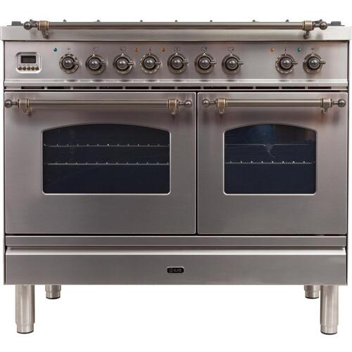 Nostalgie 40 Inch Dual Fuel Natural Gas Freestanding Range in Stainless Steel with Bronze Trim