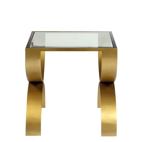 Accentrics Home - Bella Iron End Table with Glass Top