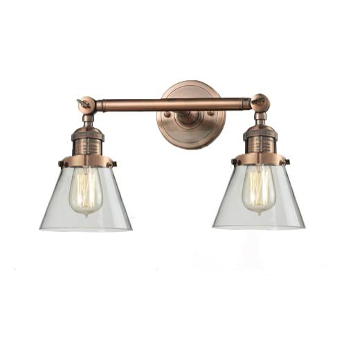 208-AC-G62 - SMALL GLASS CONE 2 LTWALL SCONCE