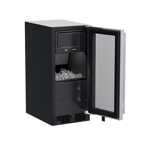 Marvel - 15-In Built-In Clear Ice Machine with Door Style - Stainless Steel Frame Glass