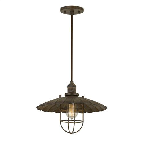 Cal Lighting & Accessories - Olive Old industrial Metal Pendant With Glass Shield (Edison Bulb Not included)
