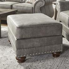 See Details - Leinster Faux Leather Upholstered Nailhead Ottoman in Stone Gray