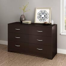 6-Drawer Double Dresser - Chocolate
