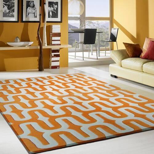 """Durable Hand Tufted Transition TF36 Area Rug by Rug Factory Plus - 7'6"""" x 10'3"""" / Orange"""