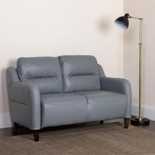 Newton Hill Upholstered Bustle Back Loveseat in Gray LeatherSoft