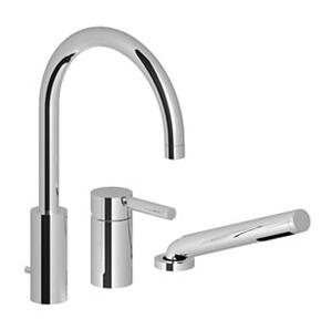 Three-hole single-lever tub mixer for deck-mounted tub installation - matt platinum Product Image