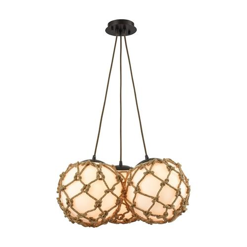 Coastal Inlet 3-Light Chandelier in Oiled Bronze with Rope and Opal Glass