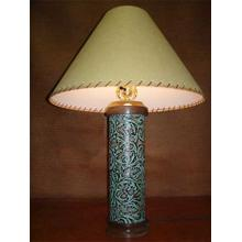 See Details - Turquoise Leather Lamp