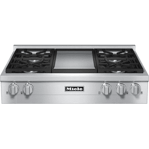 RangeTop with 4 burners and griddle for versatility and performance