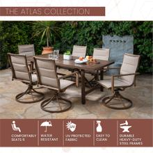Mod Atlas 7-Piece Outdoor Dining Set with 6 Padded Contoured-Sling Swivel Rockers and a 74-In. x 40-In. Trestle Table, Tan, ATLASDN7PCSW6-TAN