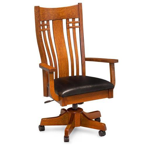 Simply Amish - Bradley Arm Desk Chair, Fabric Cushion Seat