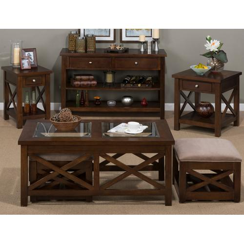 """Chairside Table W/ """"x"""" Side, Drawer and Shelf"""