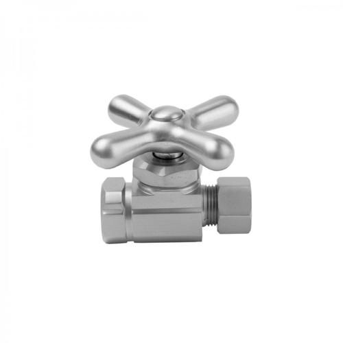 "Polished Chrome - Multi Turn Straight Pattern 1/2"" IPS x 3/8"" O.D. Supply Valve with Cross Handle"