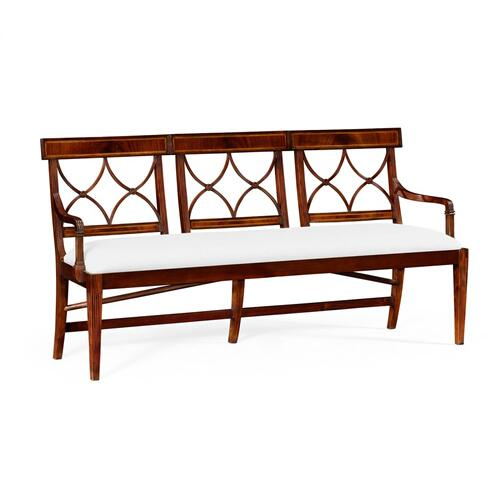 Three Seater Regency Mahogany Bench, Upholstered in COM