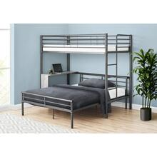 BUNK BED - TWIN / FULL SIZE - GREY DESK / GREY METAL