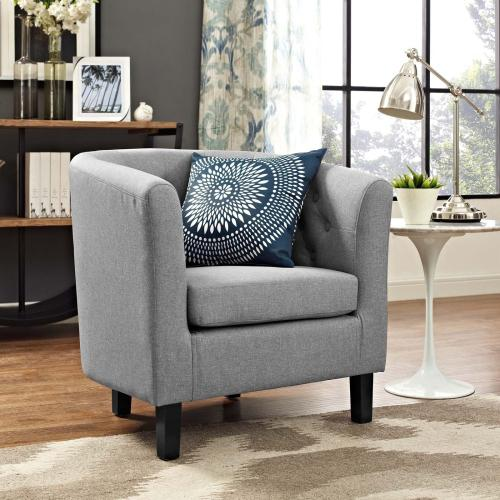 Prospect Upholstered Fabric Armchair in Light Gray
