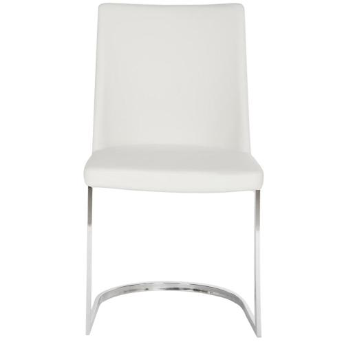 Parkston 18'' H Leather Side Chair - White / Chrome
