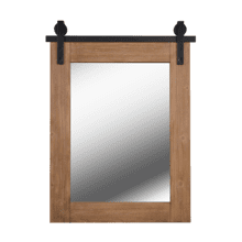 See Details - Lacey - Mirror w/ Wood Finish Frame and Black Metal Track