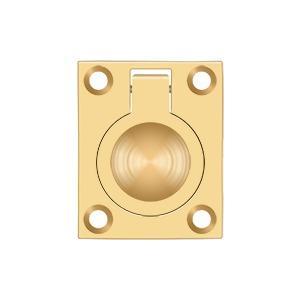 "Flush Ring Pull, 1-3/4"" x 1-3/8"" - PVD Polished Brass"