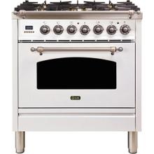 Nostalgie 30 Inch Dual Fuel Liquid Propane Freestanding Range in White with Bronze Trim