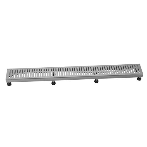 """Product Image - Brushed Stainless - 24"""" Channel Drain Slotted Grate"""
