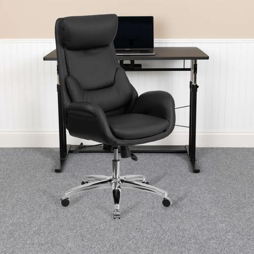 Gallery - High Back Black LeatherSoft Executive Swivel Office Chair with Lumbar Pillow and Arms