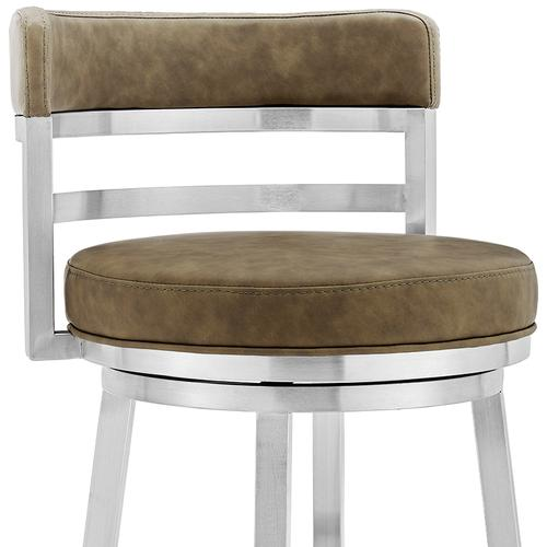 """Madrid Contemporary 30"""" Counter Height Barstool in Brushed Stainless Steel Finish and Green Faux Leather"""