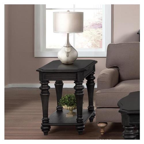 Corinne Chairside Table Ebonized Acacia finish