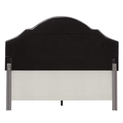 Shaped Back Upholstered King Bed in Smoke Gray