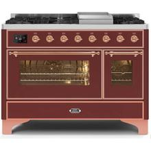 Majestic II 48 Inch Dual Fuel Natural Gas Freestanding Range in Burgundy with Copper Trim