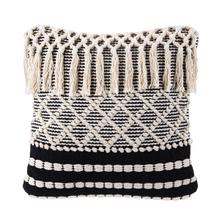 See Details - Ivory & Black Diamond Bobbles & Fringe Pillow