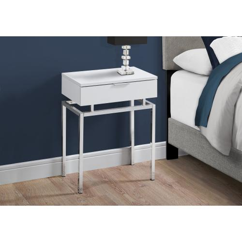 """Gallery - ACCENT TABLE - 24""""H / GLOSSY WHITE / CHROME METAL"""