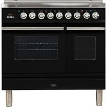 See Details - Professional Plus 36 Inch Dual Fuel Liquid Propane Freestanding Range in Glossy Black with Chrome Trim