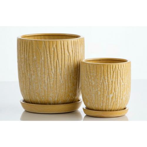 Alfresco Home - Oat Carved Petit Pots w/attchd saucer set 2min4 sets