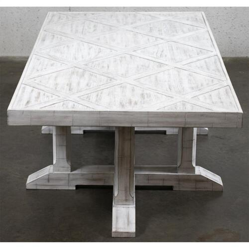 Parquet Coffee Table - Rustic White Finish