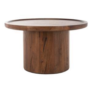 Safavieh - Devin Round Pedestal Coffee Table - Dark Walnut