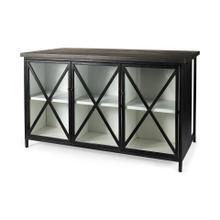 See Details - Dimitra 62.0L x 32.0W x 36.0H Dark Iron W/Glass Doors Kitchen Island