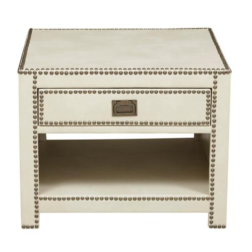 Chester Ivory Faux Leather Wrapped Trunk Style End Table