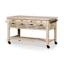 Columbia I Light Brown Body w/ Black Iron Knobs Rolling Kitchen Island
