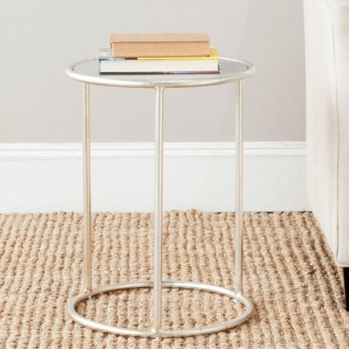 Shay Glass Top Silver Accent Table - Silver / Grey