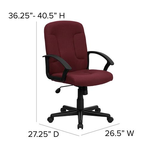 Gallery - Mid-Back Burgundy Fabric Executive Swivel Office Chair with Nylon Arms