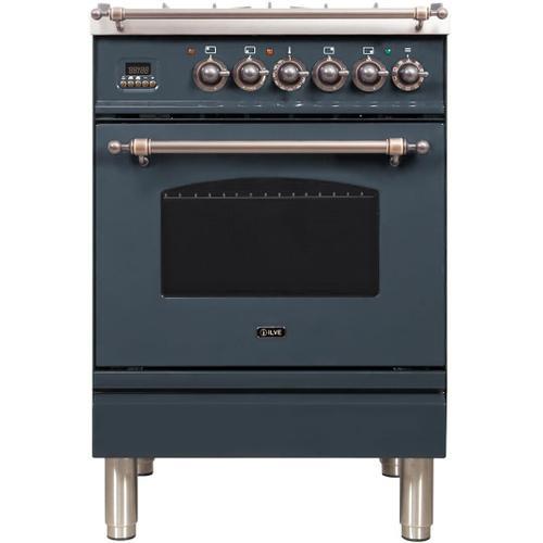 Ilve - Nostalgie 24 Inch Dual Fuel Liquid Propane Freestanding Range in Blue Grey with Bronze Trim