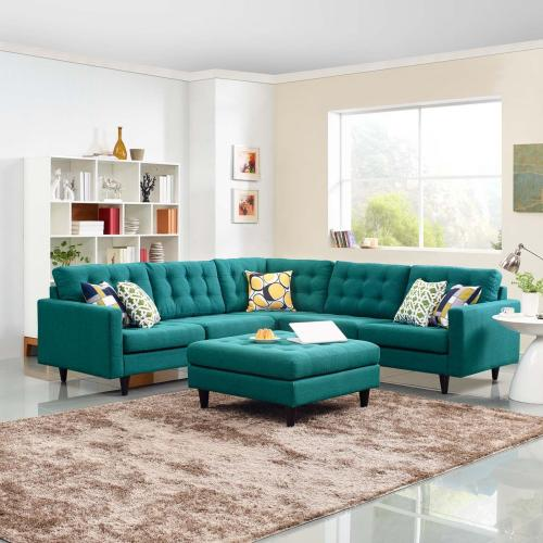 Modway - Empress 3 Piece Upholstered Fabric Sectional Sofa Set in Teal