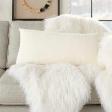 "Fur Vv021 Ivory 1'2"" X 2'6"" Throw Pillow"